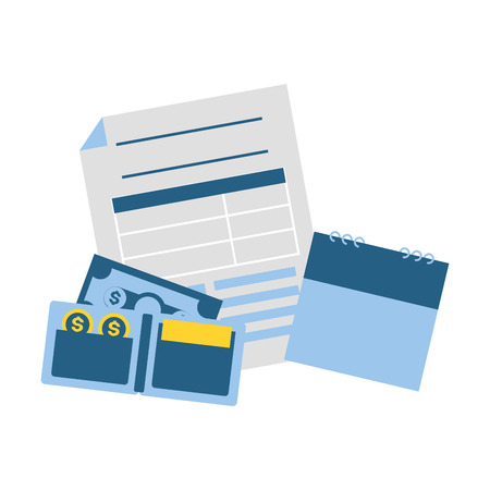 calendar form wallet banknote money tax payment  vector illustration