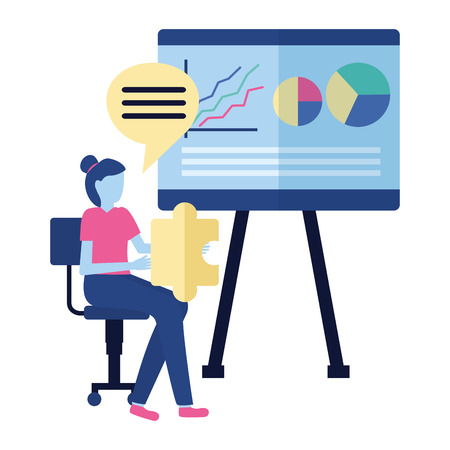 business woman with puzzle and board presentation vector illustration