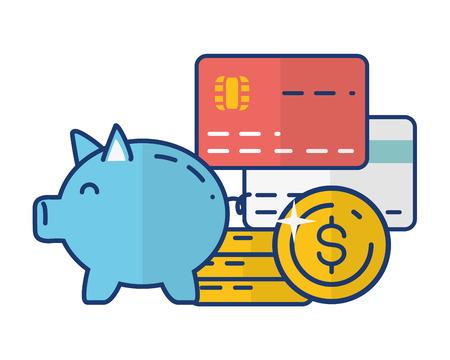 piggy bank cards money online payment vector illustration Illustration