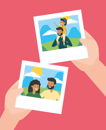 hands with photos familiy day vector illustration design Banque d'images - 123305087