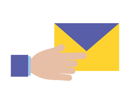 hand with mail envelope tax payment vector illustration Stok Fotoğraf - 123305091