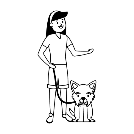 girl with his dog domestic vector illustration Stok Fotoğraf - 121141557