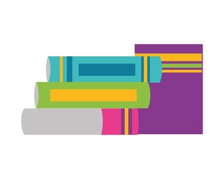 books stacked literature school supplies vector illustration design