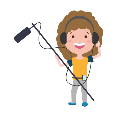 woman with movie objects avatar character vector illustration desing