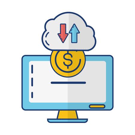 computer cloud storage money transfer online payment vector illustration