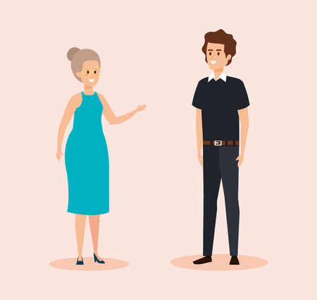 woman wearing elegant dress and man with hairstyle vector illustration Foto de archivo - 123305237
