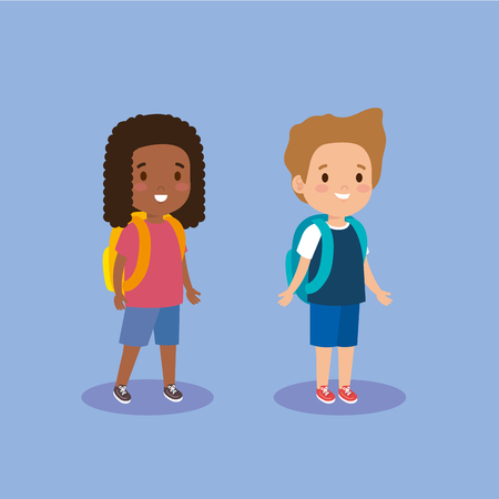 cute girl and boy with casual clothes vector illustration