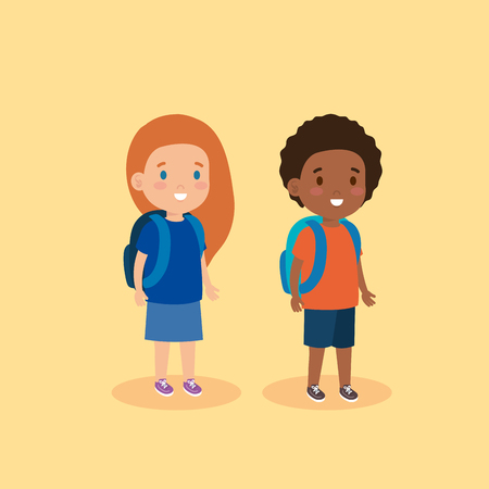 cute girl and boy with hairstyle and backpack vector illustration