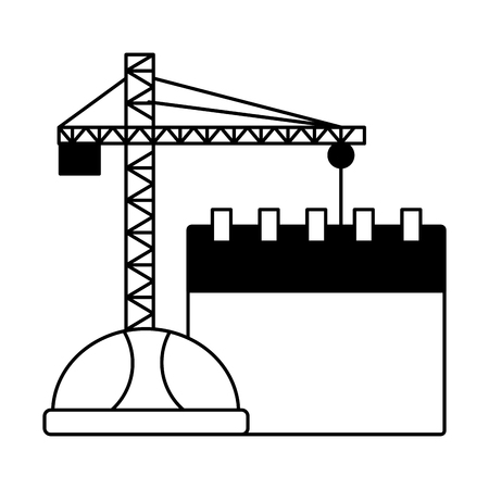 crane construction calendar helmet labour day vector illustration