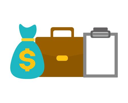 money bag suitcase clipboard tax payment vector illustration design