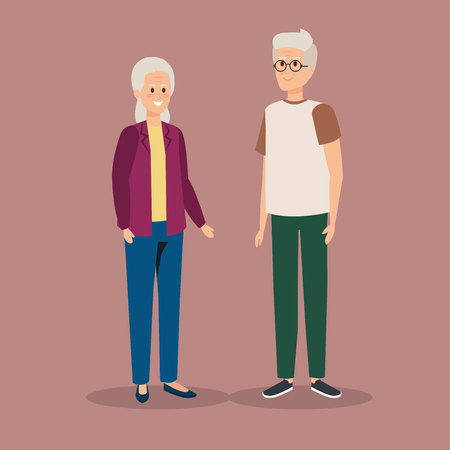 old woman and man couple with casual clothes vector illustration