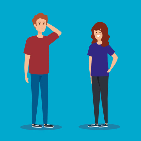 cute boy and girl young couple vector illustration