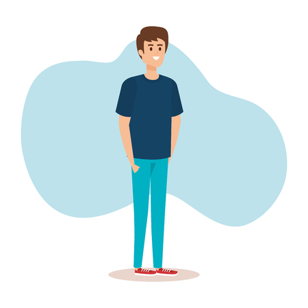 happy boy with hairstyle and casual clothes vector illustration