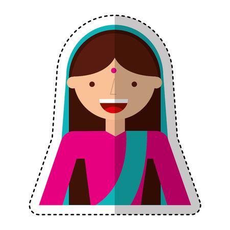 indian woman avatar character vector illustration design