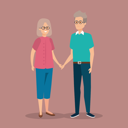 old woman and man couple together with hairstyle vector illustration