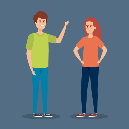 young couple with hairstyle and casual clothes vector illustration Иллюстрация