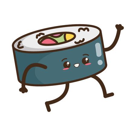 kawaii cartoon sushi character vector illustration design 일러스트