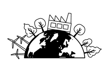 planet factory ecology energy earth day vector illustration Ilustração