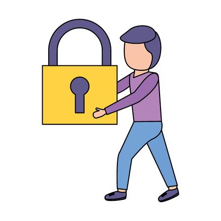 Hombre sujetando candado de seguridad fondo blanco ilustración vectorial Ilustración de vector