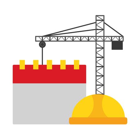 crane construction calendar helmet labour day vector illustration Banco de Imagens - 123305441