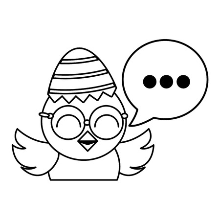 cute little chick with sheel egg broken and speech bubble vector illustration design Stock Illustratie