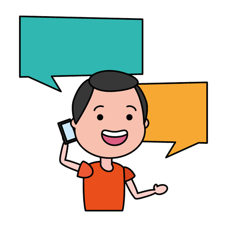 man with smartphone and speech bubble character vector illustration desing