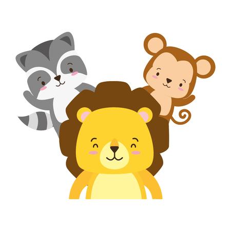 cute lion monkey and raccoon cartoon vector illustration