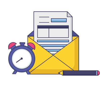 horloge papier, crayon, impôt, paiement, vecteur, illustration