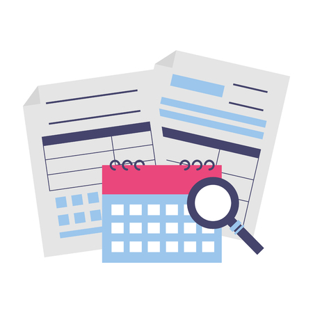 tax payment document calendar magnifier vector illustration