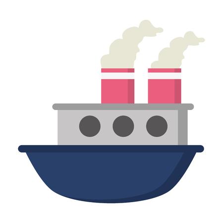 boat sea transport cartoon vector illustration design Çizim