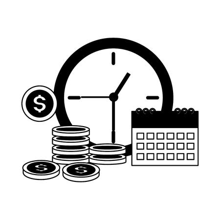 clock calendar coins tax time payment vector illustration