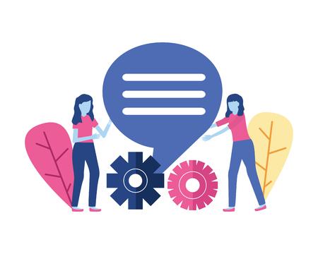 business women gears talk bubble vector illustration 写真素材 - 123310386