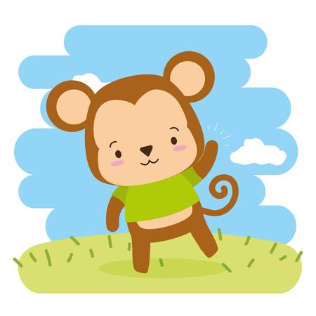 cute monkey animal cartoon vector illustration design Stock Illustratie