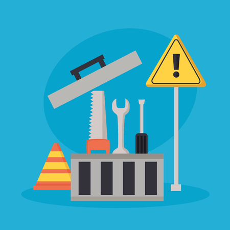 toolbox repair construction saw spanner screwdriver vector illustration 向量圖像