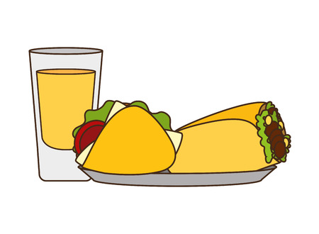 mexican taco burrito tequila delicious vector illustration