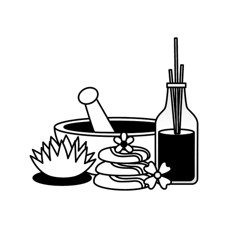 bowl stones aromatherapy sticks flowers spa treatment therapy vector illustration Illustration
