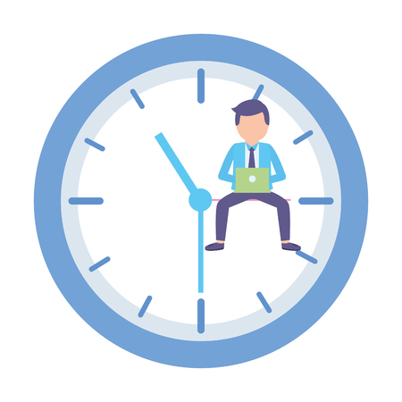 businessman laptop clock time work vector illustration