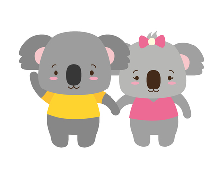 cute couple koala animal cartoon vector illustration design