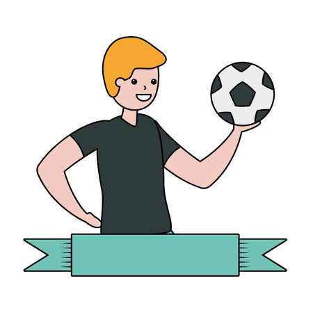 men with ball soccer - my hobby vector illustration