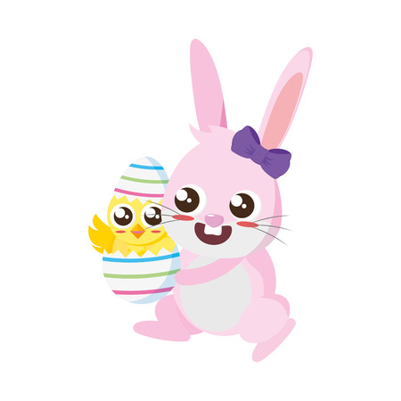 beautiful rabbit with chick born easter character vector illustration design