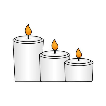 burning candles decoration on white background vector illustration Imagens - 123310487