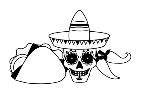 skull with hat taco and jalapeno cinco de mayo vector illustration  イラスト・ベクター素材