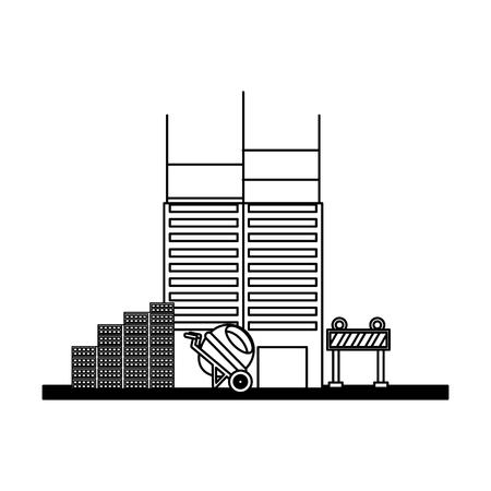building construction concrete mixer barrier bricks tools vector illustration