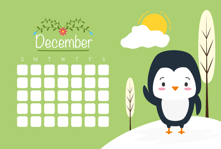 cute penguin animal calendar cartoon vector illustration