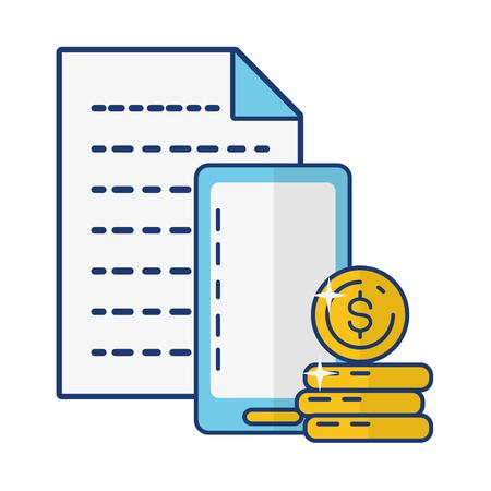 smartphone coin stack report online payment vector illustration Stock Illustratie