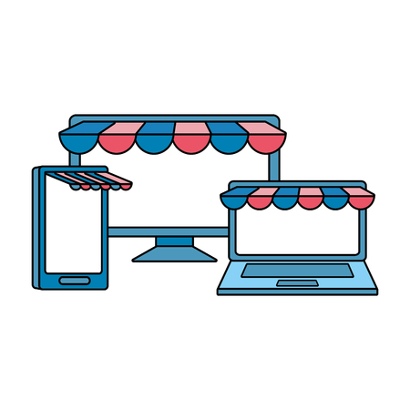 set devices with ecommerce tents vector illustration design