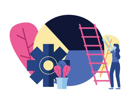 businesswoman chart gear ladder vector illustration design