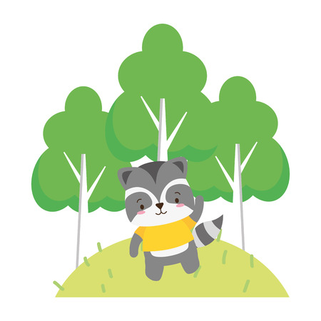 cute raccoon cartoon trees vector illustration design