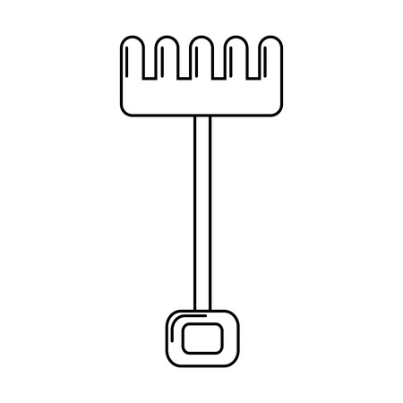 rake tool gardening on white background vector illustration 向量圖像