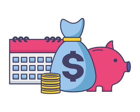 money bag piggy bank calendar tax payment vector illustration